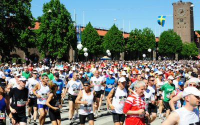 """Stockholm, Sweden - May, 30 2009: Stockholm Marathon, the hottest one since beginnings 1979. The Stockholm Marathon is an annual marathon arranged in Stockholm, loops around central Stockholm. Picture shows start at Stockholm Stadion, famous for the 1912 olympics."""